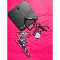 Lightening Bolt Glitter Filled Key Chain with Charms