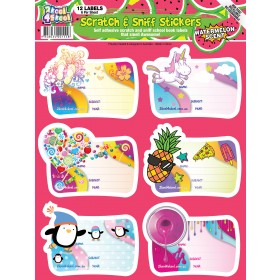 Scratch and Sniff School Book Labels - Watermelon Scented