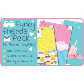 Funky Friendz A4 School Book Covers - 6 pack Slip-On PVC Jackets