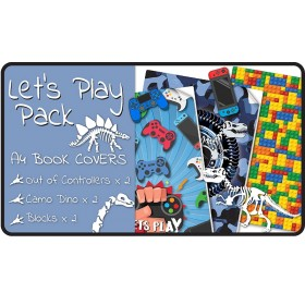 Lets Play A4 School Book Cover Pack - 6 pack Slip-On PVC Jackets