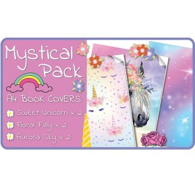 Mystical A4 School Book Covers - 6 pack Slip-On PVC Jackets