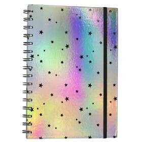 Hologram & Stars Spiral Notebook/Diary with Mini Calendar