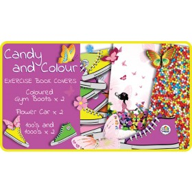 Candy & Colour Exercise School Book Covers (9x7) - 6 pack