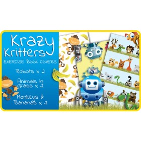 Krazy Kritters School Exercise Book Covers (9x7) - 6 pack