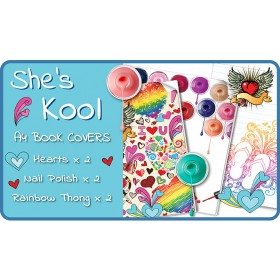 School Book Covers - She's Cool A4 6 pack