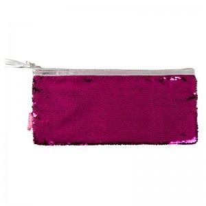 Sequin Reversible Colour Change Pink Silver Pencil Case