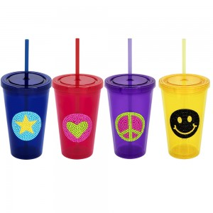 Double Walled Bling Cup with Straw