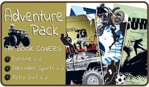 Adventure Slip-On A4 School Book Covers - 6 pack PVC Book Jackets
